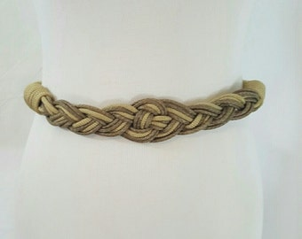 Vintage 1980s Nautical Khaki and Taupe Knotted Rope Cummerbund Style Belt M