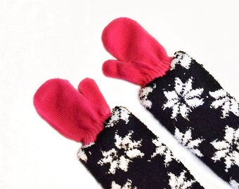 Childrens Long Mittens, toddler mittens, baby mittens, hot pink mittens
