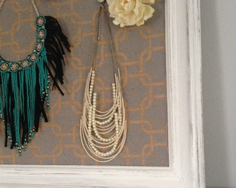 Printed Burlap  Pinboard Jewelry Holder Blue Burlap Corkboard Rustic Framed Fabric Shabby Chic (Item Number BL118)