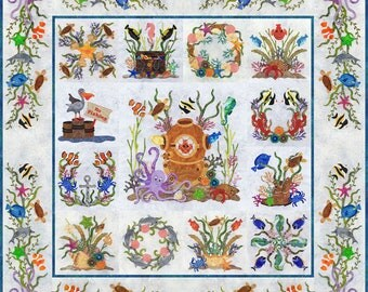 Baltimore Album Octopuses Garden Ocean Applique 13 Quilt Pattern BOM P3 Designs