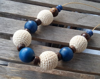 Crochet Wood Ball Necklace  | Royal Blue, Brown and Cream Crochet Ball Beads with Coconut Wood Accents | Metal Free