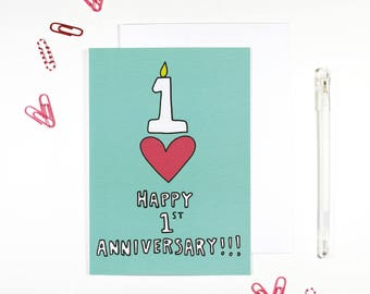 Happy 1st Anniversary Card First Anniversary Card