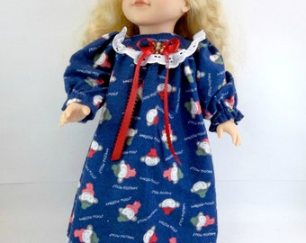 "18 inch Doll Sleepwear Flannelette Nightgown Navy with Monkeys to fit 18"" American Girl Doll"