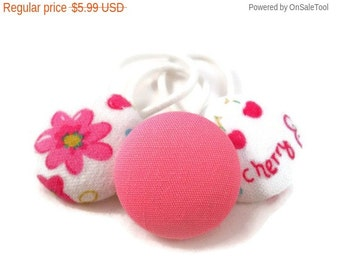 Ponytail Holders Set of 3 Pink and White Cute Spring Cherry Blossom Hair Accessories for Tween Girls Tween Hair Accessories Pony Tail