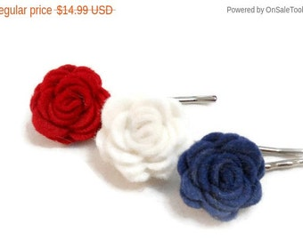 Flower Bobby Pin Set Red White and Blue 4th of July Fourth of July Made in USA Patriotic Hair Accessories All American Girl Hair Pin Set