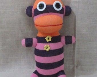 Clearance Handmade Purple Striped Sock Monkey Stuffed Animal Doll Baby Toys