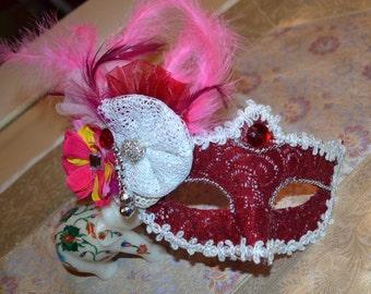 Red Wine Masquerade Bridal Mask, Mascarade mask, red mask, lace mask, mardi gras mask, costume mask, sweet 16 mask, halloween. bridal mask