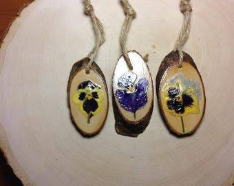 Polish pressed flowers (pansies) wooden ornaments