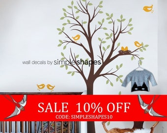 Sale - THE ORIGINAL Tree with Birds and Nest Decal - Children's Vinyl Wall Sticker