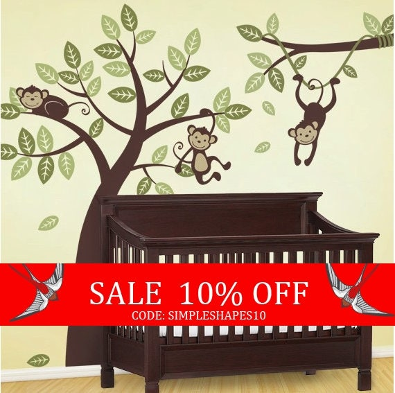 Sale - Tree and Branch Vine with Monkeys - Kids Vinyl Wall Sticker Decal Set