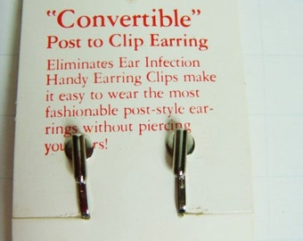 Convertible Post To Clip Earring - Silvertone