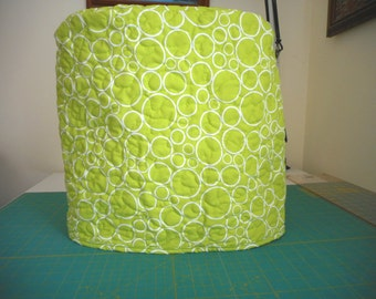 Quilted stand mixer cover - Bright green with white circle pattern