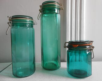 Vintage Green Glass Containers-Canisters Set of 3 Wide Ribbed Style Containers with Metal Clip Closures 70's Era