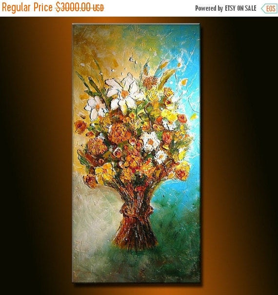 Abstract Painting, Original Modern  rich textured Palette Knife Floral Painting by Henry Parsinia large48x24