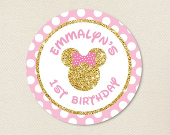 Gold Minnie Mouse Party - Minnie Mouse Birthday Stickers - Sheet of 12 or 24