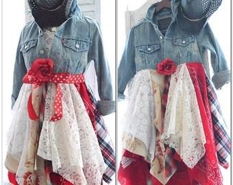 Sale Americana duster coat dress, Bohemian gypsy long jacket, Rock n Roll street chic, Boho clothes, Romantic country, true rebel clothing