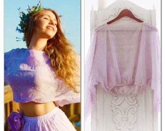 Gypsy Soul Poets Crop Top, Boho Crop, Bohemian Style Poets Blouse, Hippie Chic Retro Poets Blouse, Romantic Lilac Shirt, True Rebel Clothing