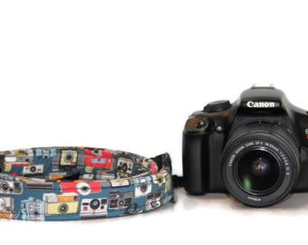 NEOPRENE THIN Camera Strap Vintage Camera design - Cross-body Length Pick Fabric CANON Nikon