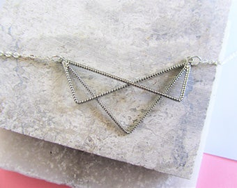 Silver Triangle Necklace, Geometric Necklace, Minimalist,Twisted Silver Necklace, Statement Necklace, Layering Necklace,Gift for Her