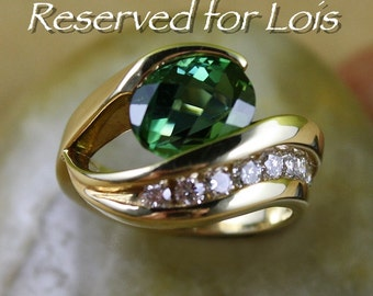 Reserved for Lois Only 14 Karat Green Tourmaline And Diamond Handmade Ring