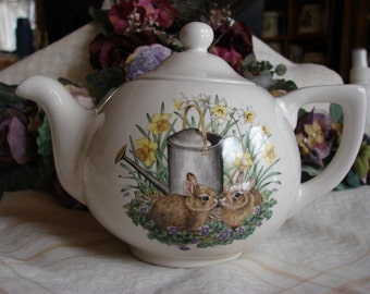 Meet and Greet Bunnies in the Spring Flowers & a Little English Teapot