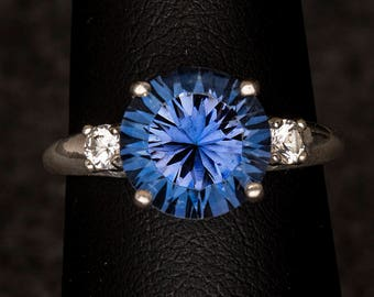 Iolite Blue Quartz Concave Cut 3 Stone Unique Engagement Ring
