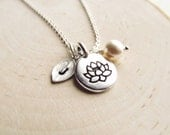 Lotus Flower Jewelry Personalized with Leaf Initial and Pearl, Lotus Flower Necklace, Spiritual Jewelry, Meditation Necklace, Yoga Gifts