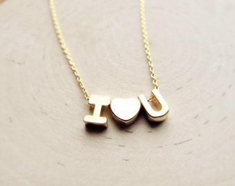 Valentine's Day Jewelry, Letter Necklace Heart, Gold Two Letter Necklace, Personalized Couples Jewelry, Customized Anniversary Gift for Her