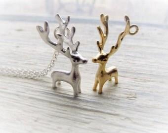 Reindeer Necklace, Deer Antler Jewelry in Silver or Gold, Deer Necklace, Antlers Necklace, Forest Animal, Woodland Creatures, Nature Jewelry