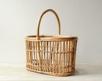 Vintage Bamboo Basket with Handle