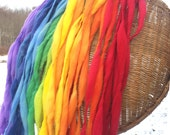Handspun rainbow yarn, 60 yards and 3.5 ounces, 100 grams, spun self striping and thick and thin in hand dyed merino wool