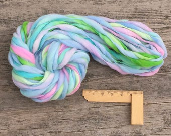 47 yards and 2.9 ounces/ 82 grams handspun and hand dyed yarn, spun super bulky and thick and thin in merino wool
