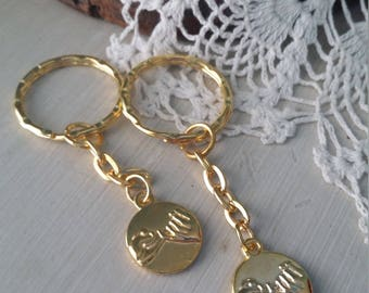Gold best friends sisters mother daughter couples pinky promise keychain set