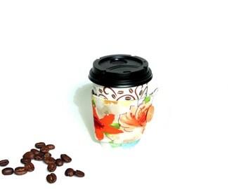Coffee cozy, coffee sleeve, coffee to go, coffee lover, coffee drinker, hot cup holder, chevron fabric coffee cozy, coffee cozies