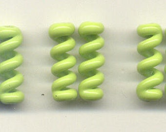 Tom's lampwork opaque lime green (gaspeite) twist cylinder, drops, spacers 20mm, 2 beads, 1 pair, 96823-1