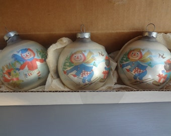 Vintage Raggedy Ann and Andy Christmas Ornaments