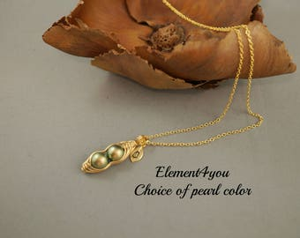 1 2 3 4 5 Peas in a pod necklace Two Initials leaf charms Swarovski pearl Pendant drop Wire wrapping Gold Personalized gift Mother daughter