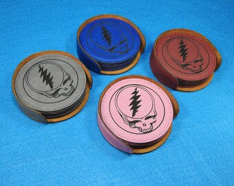 STEAL YOUR FACE Leather Coaster Set - Available in 4 different colors! Great Christmas Gift for the Grateful Dead Fan!
