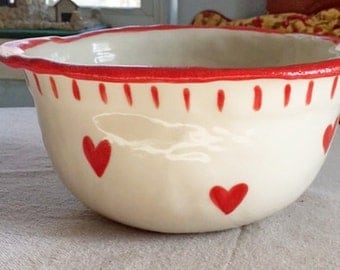Holiday Gift, Custom Valentine, Personalized, Mixing Bowl,Large, Rustic Bowl, Hearts, Pottery, Valentine, Gift, Inscribed