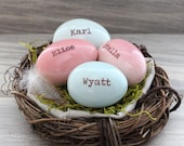 Mother gift, gift for moms, Personalized eggs in nest, custom name eggs, bird nest ornament, 1-7 eggs