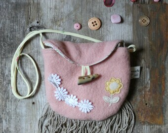 little girl's purse with front flap, small coin bag, reclaimed wool and leather, pink,fringe,flowers,vintage trims