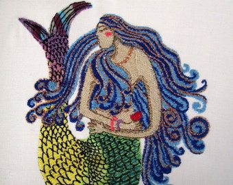 5 Mermaid Embroidered Quilt Blocks