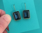 montana blue swarovski crystal earrings, available in shiny silver or antique gold setting