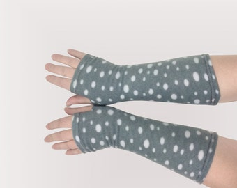 Fingerless  fleece gloves gray polka-dotted