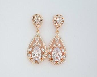 Wedding Earrings Rose Gold Bridal Jewelry Cubic Zirconia Large Teardrops Rose Gold Crystal Wedding Jewelry, Essy