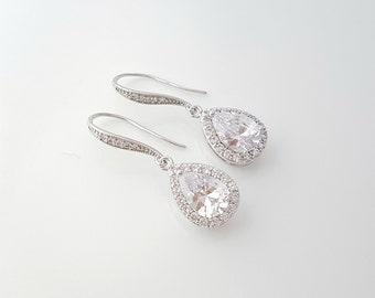 Drop Bridal Earrings, Crystal Wedding Jewelry, Bridesmaid Earrings, Cubic Zirconia Bridal Jewelry, Tear Drop Wedding Earrings, Ellie