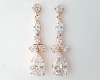 Rose Gold Bridal Earrings Wedding Jewelry Cubic Zirconia Long Crystal Wedding Earrings Rose Gold Earrings For Bride, Adeline Earring