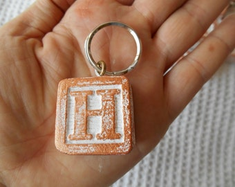 Keyring Monogram Letter Wood block Rose Gold white Cottage Chic