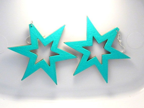 Extra Large Star Earrings, Teal Turquoise Stars, Hand Painted Wood, Big Lightweight, Bold Statement Jewelry, Pentagram Earrings