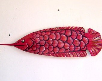 Tropical Red Fish Carved from Queen Palm Seed Pod 32 Inches Long!! Palm Frond